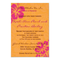 Beach Flowers - Orange/Fuschia (5x7) Invitation