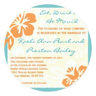 Beach Flowers Orange & Teal Wedding Invitation