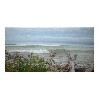 Beach Flowers Photo Card Template