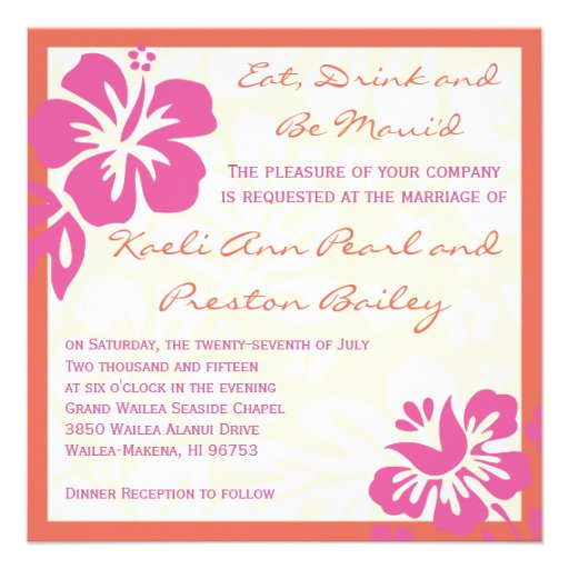 Beach Flowers Pink Orange Wedding Invitation 525 Square Invitation Card