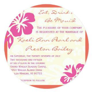 Beach Flowers Pink Orange Wedding Invitation