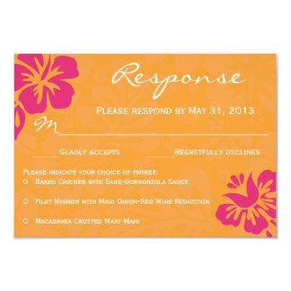 Beach Flowers RSVP - Orange & Fuschia Card
