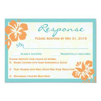 Beach Flowers RSVP Orange & Teal Card
