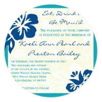 Beach Flowers Shades of Blue Wedding Invitation