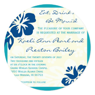 Beach Flowers Shades of Blue Wedding Invitation