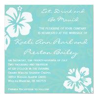 Beach Flowers - Teal Invitation