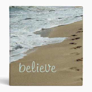 Beach footprints in the sand ocean binder