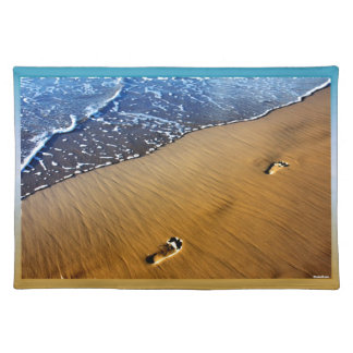 Beach Footsteps Cloth Place Mat