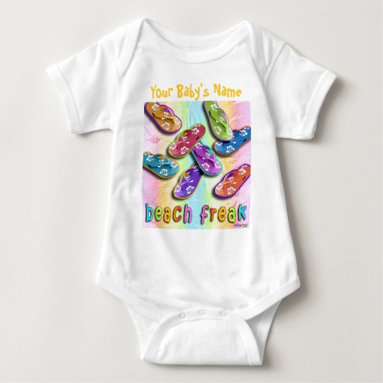 Beach Freak in Flip Flops Baby Clothing Baby Bodysuit