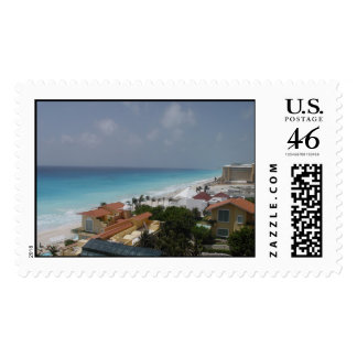 Beach Front Cancun Mexico Stamp