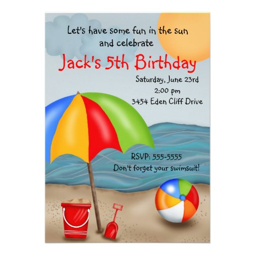 Well known Personalized Beach birthday party Invitations  JK64