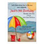 "Beach Fun Birthday Invitations 5"" X 7"" Invitation Card"