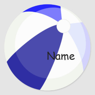 Beach Fun Blue Name Sticker