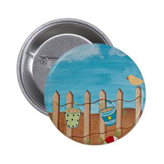 Beach Fun-original painting print Button