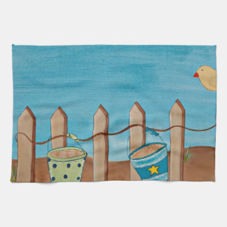 Beach Fun-original painting print Kitchen Towel