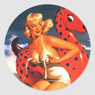 Beach Fun Pin Up Round Sticker