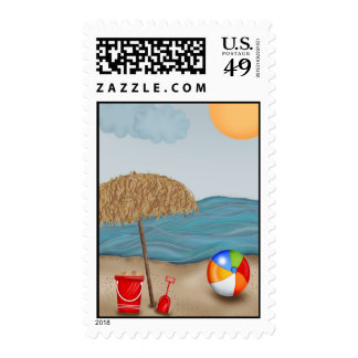Beach Fun Postage Stamps