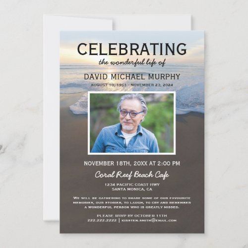 Beach Funeral  Celebration of Life Photo Invitation