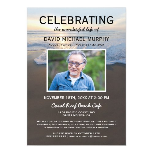 Beach Funeral  Celebration of Life Photo Invitation
