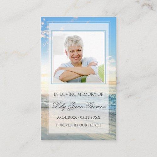 Beach Funeral Prayer Card  In Loving Memory