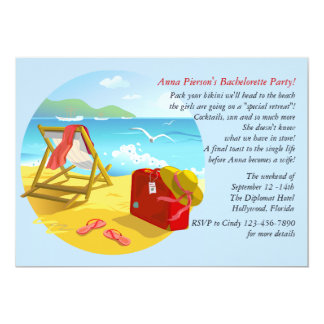 Beach Get-Away Bachelorette Party Invitation
