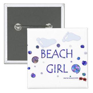 Beach Girl - Footprints - Button/Pin Pinback Button