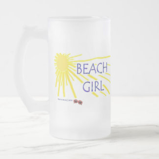 Beach Girl Frosted Glass Beer Mug