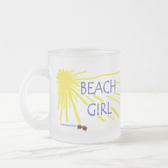 Beach Girl Frosted Glass Coffee Mug