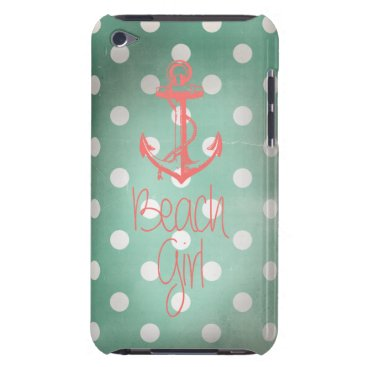 "Beach Themed ""Beach Girl"" Nautical Anchor Mint Polka Dots Barely There iPod Cover"