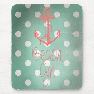 """Beach Girl"" Nautical Anchor Mint Polka Dots Mouse Pad"