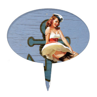 Beach Girl Nautical Anchor Pin Up Girl Sailor Cake Topper