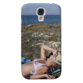 Beach Girl on Rocky Shore Galaxy S4 Case