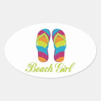 Beach Girl Oval Sticker