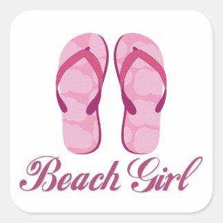 Beach Girl Square Sticker