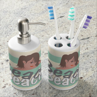 Beach Girl Stripe Bathroom Set