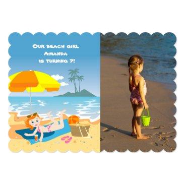 Beach Themed Beach girl summer birthday party photo invitation