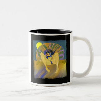 beach girl Two-Tone coffee mug