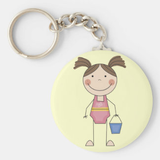 Beach Girl with Bucket Tshirts and Gifts Keychain