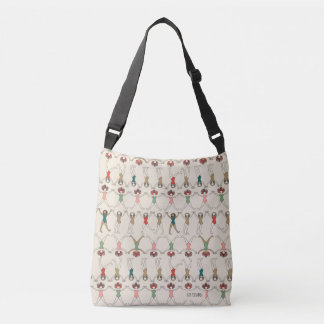 Beach Girls dancing in rows on sand Crossbody Bag