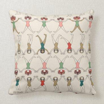 Beach Themed Beach girls, geometric drawings in rows on cream throw pillow