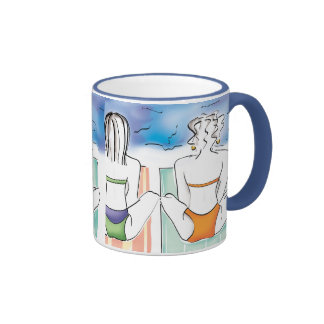 Beach Girls Ringer Coffee Mug
