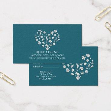 Beach Themed Beach Glam Diamond Heart Elegant Refer a Friend Business Card