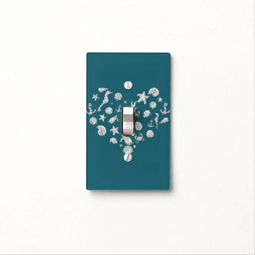 Beach Themed Beach Glam Diamond Heart Elegant Silver Teal Chic Light Switch Cover