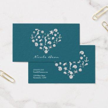 Beach Themed Beach Glam Diamond Heart Elegant Tropical Custom Business Card