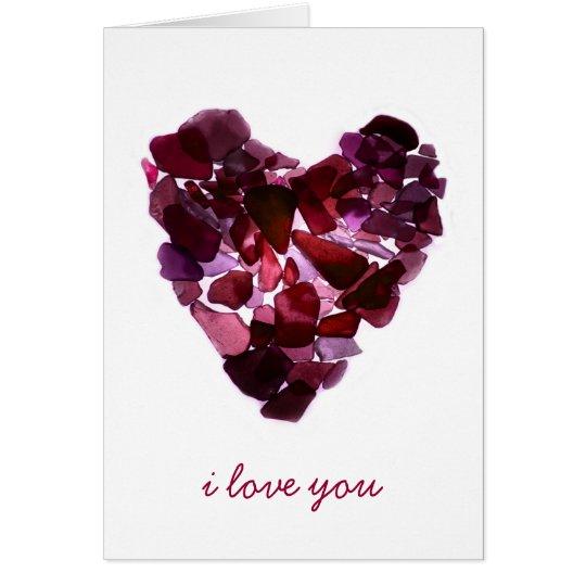 Beach Glass Heart Card