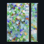 """Beach Glass iPad Case<br><div class=""""desc"""">All of the beach glass you see on my products was hand-picked by me off the beaches of Kauai, Hawaii. Two versions of this case are available. Here in lighter colors. Another in darker shades. The sea glass has blue, green, white, aqua, yellow and brown. The other image has the...</div>"""