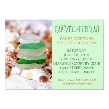 CarriesCamera Beach Glass & Seashells Invitations