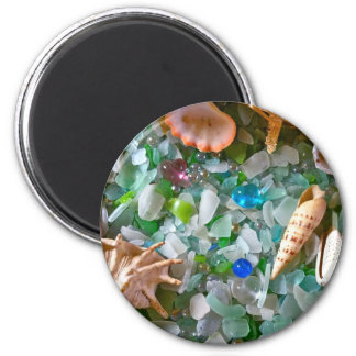 Beach Glass with Shells 2 Inch Round Magnet