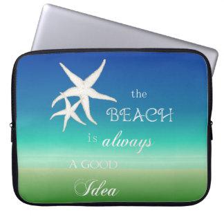 Beach Good Idea Starfish Blue Green Laptop Sleeve
