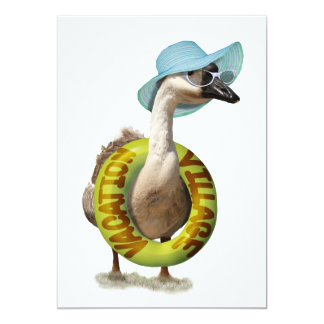 Beach Goose  with Summer Hat & Sunglasses 5x7 Paper Invitation Card